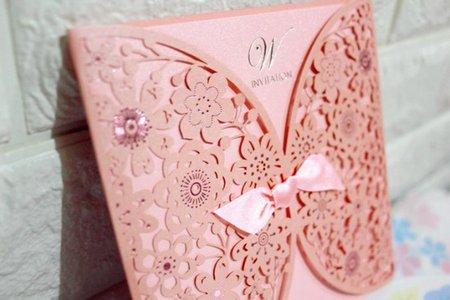 韓版喜帖、燙金喜帖、手工喜帖-粉紅色雙
