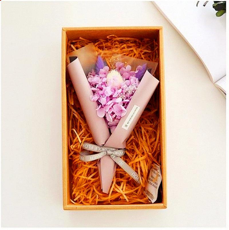 繡球永生花束禮盒 -粉紫色