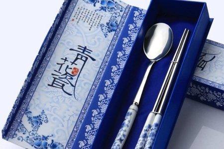 超優質高檔青花瓷兩件式餐具組 高級禮贈品