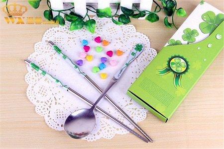 現貨新品-綠色幸運草餐具禮盒 青花瓷