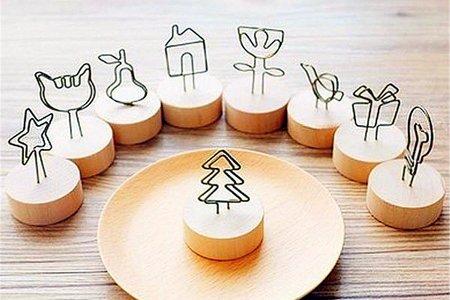 日式Wood memo天然木鐵藝可愛造型