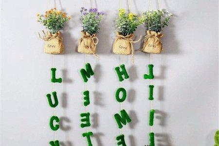 可愛迷你 字母吊飾 仿真小花草壁掛式盆栽