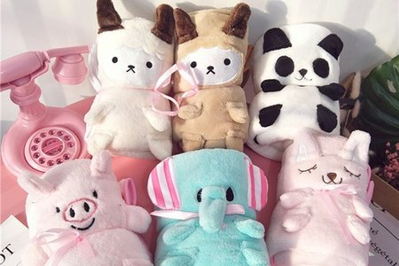 法蘭絨 可愛卡通 動物造型 絨毛毯子