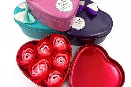 心型漸層色 香花皂禮盒(6朵) 玫瑰花皂