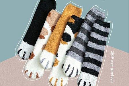 爆款現貨 超級保暖 珊瑚絨毛 可愛貓爪襪