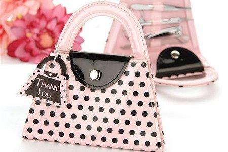 現貨-粉色提包修容組 粉紅圓點包包、指甲美容