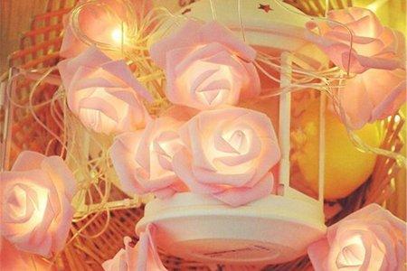 [現貨]玫瑰花LED燈串 粉色玫瑰花 白色玫瑰花 (3米20燈) (6米40燈)