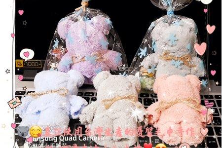 #可愛的泰迪小熊毛巾100%純手工製作