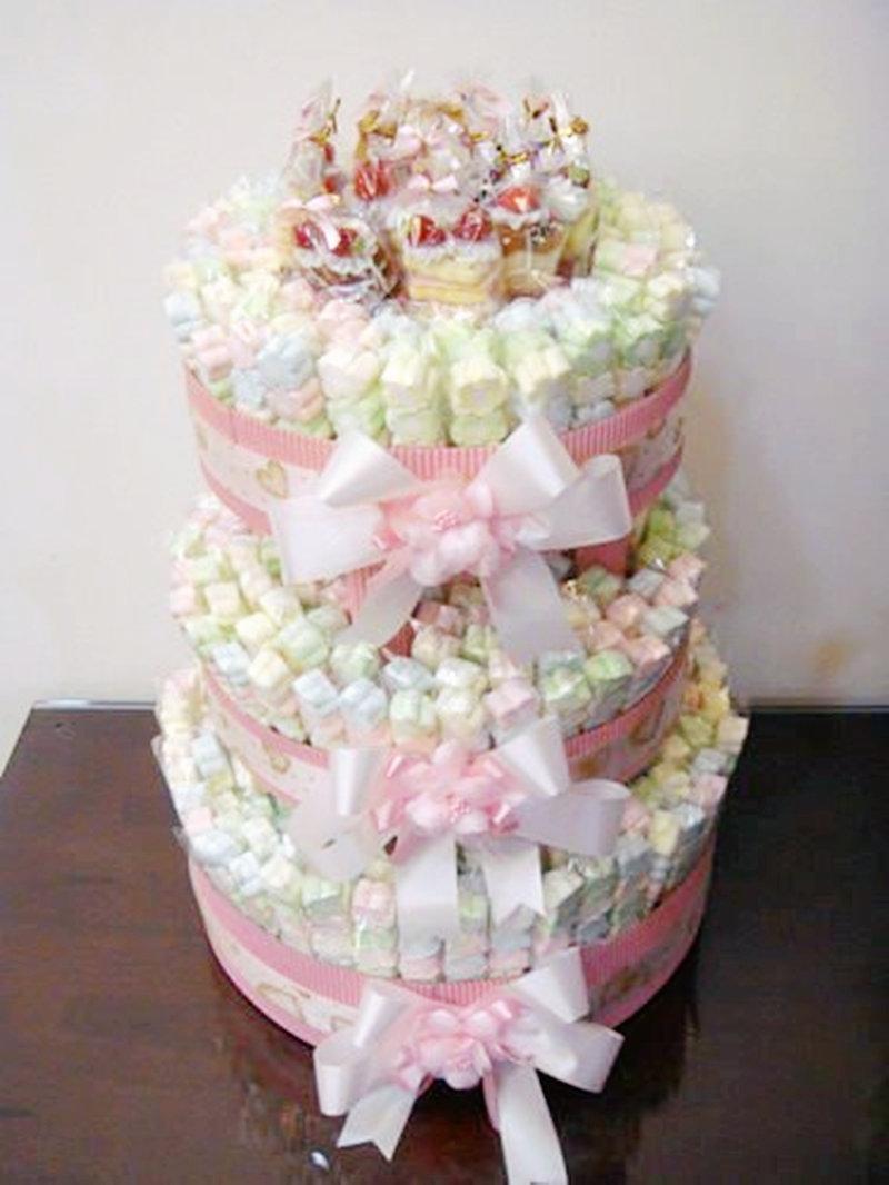 摯愛棉花糖蛋糕塔(粉色、紫色) 棉花糖