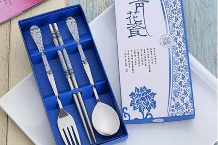 💟振興方案💟青花瓷年年有餘禮盒餐具3