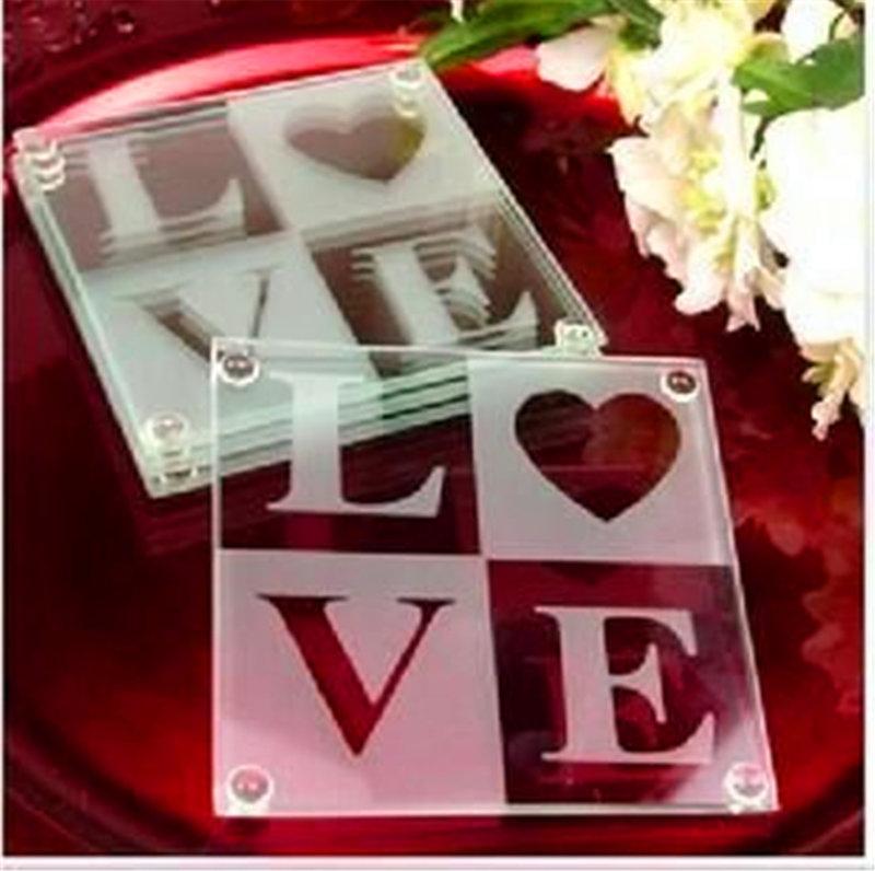 美國婚禮小物 系列【LOVE玻璃杯墊】