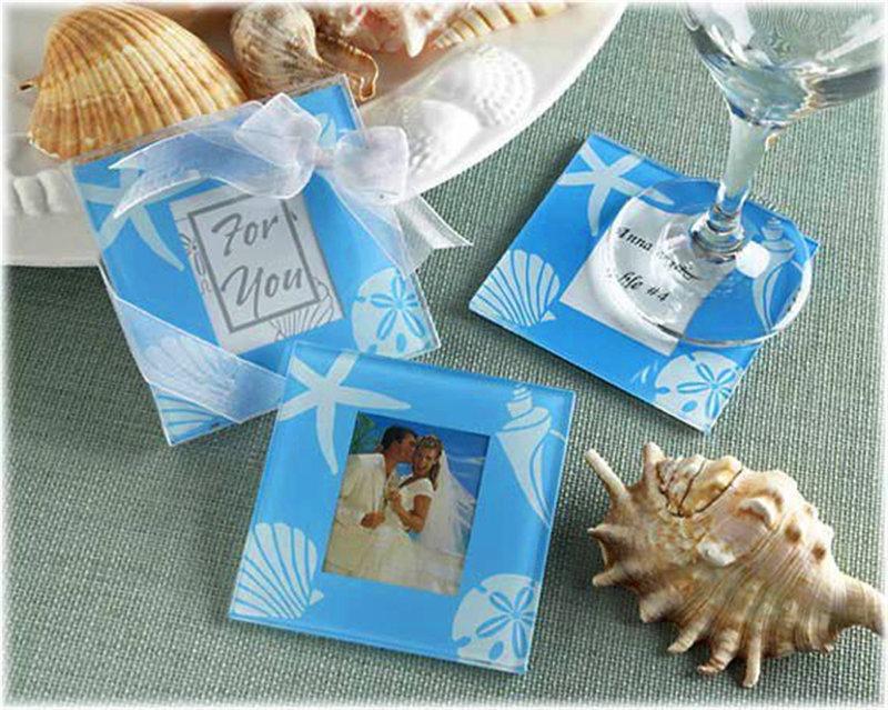 藍色海洋玻璃相片杯墊組(兩片裝)