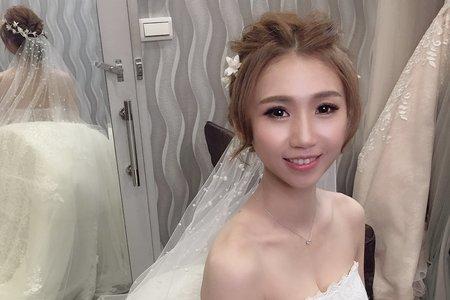 白紗迎娶乾燥花+進場珍珠頭紗