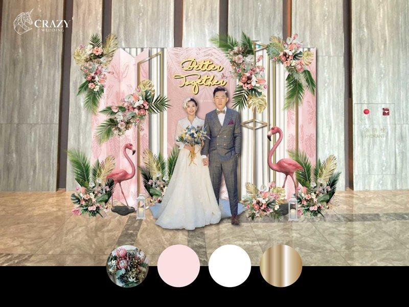 粉紅熱帶婚禮佈置