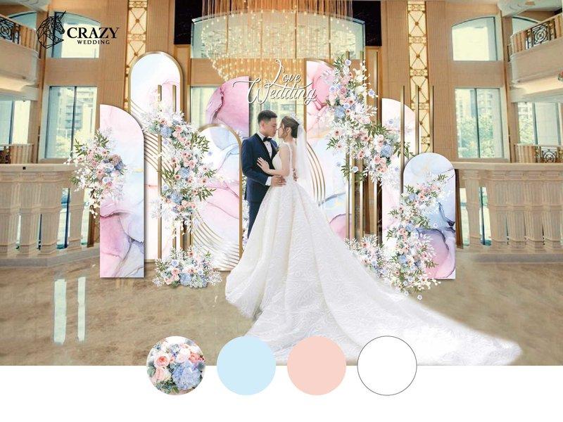 藍粉優雅婚禮佈置