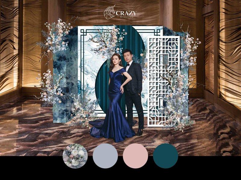 湖水藍中國風婚禮佈置