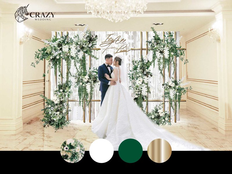 優雅綠白婚禮佈置