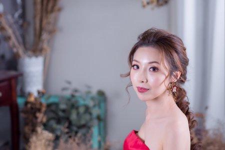 M&B studio新娘造型作品-日系編髮、乾燥玫瑰色眼妝