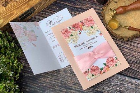 【優雅粉.永結同心.西式燙金喜帖】編號HA2720(P)