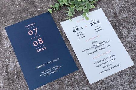 【藍色簡約婚卡.明信片喜帖】編號V22(B)