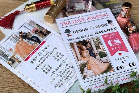 【婚禮日報.手感明信片喜帖】編號V38