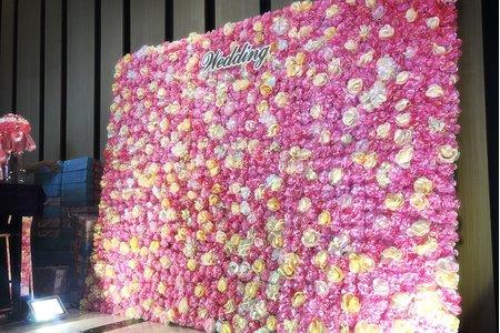 粉色玫瑰世紀婚禮花牆