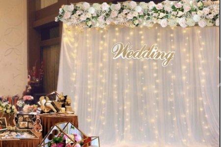 [肯尼西爾佈置] 白紗花藝款 結婚拍照背板 婚禮佈置