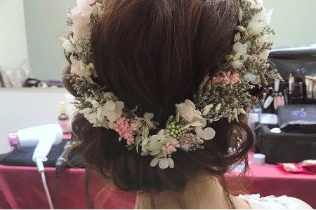 短髮 低盤髮造型 乾燥花系列