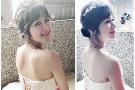 短髮新娘也可以盤得很清新優雅