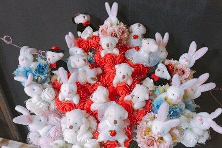 ?花束熊/兔~浪漫婚禮 求婚花束
