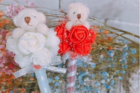 ?愛情玫瑰系列 玫瑰熊 婚禮簽名筆