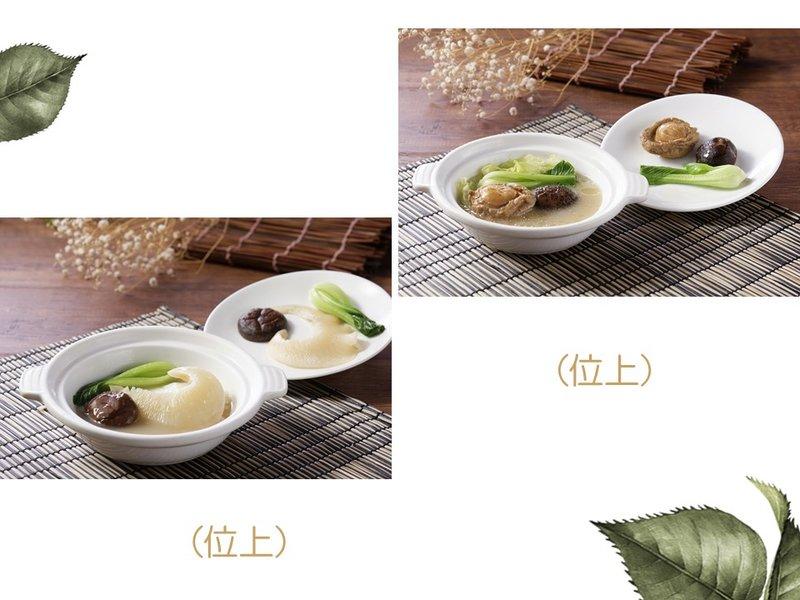 砂鍋北菇大排翅釀菜膽或整鮑釀菜膽(位上)