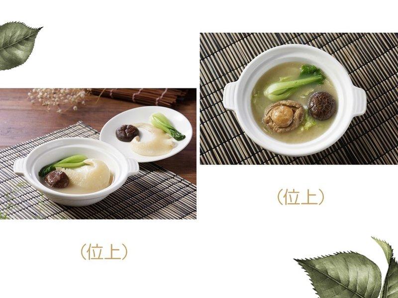 砂鍋北菇排翅釀菜膽或整鮑釀菜膽(位上)