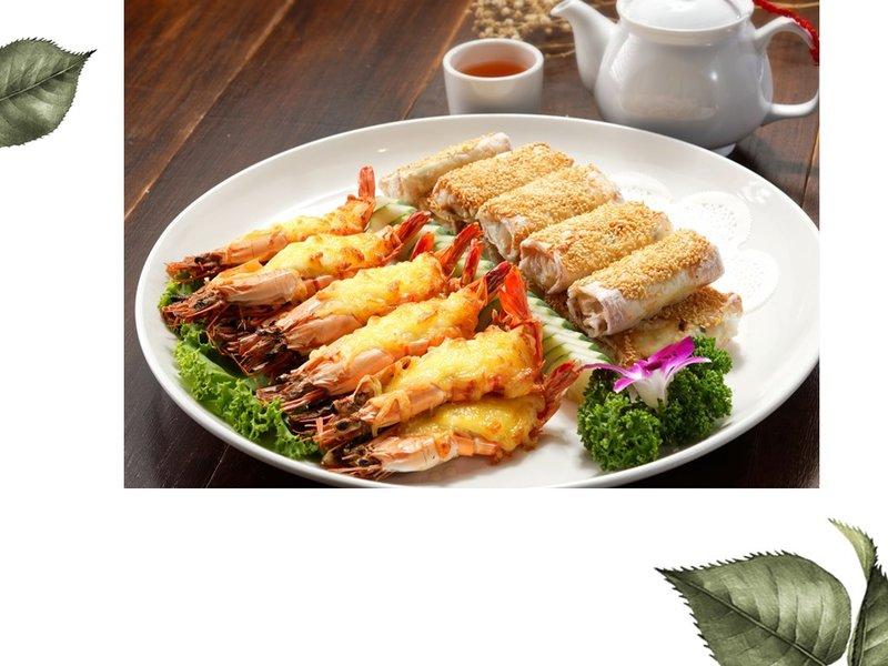 起司焗大蝦拚海鮮捲