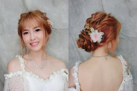 MINAMI新娘秘密/粉色眼影/日系抽絲盤髮