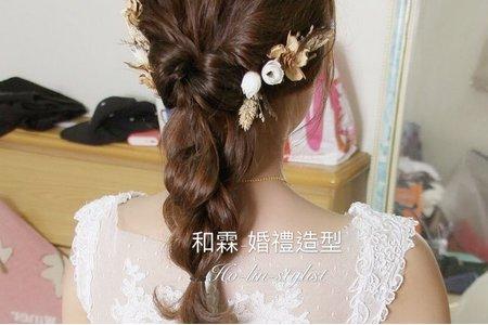 日系-乾燥花拉絲編髮