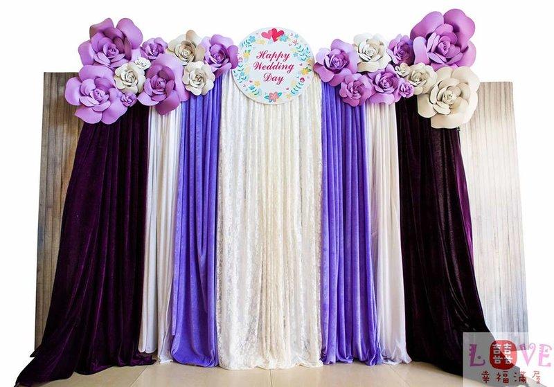 第四號布幔-立體玫瑰紫白款