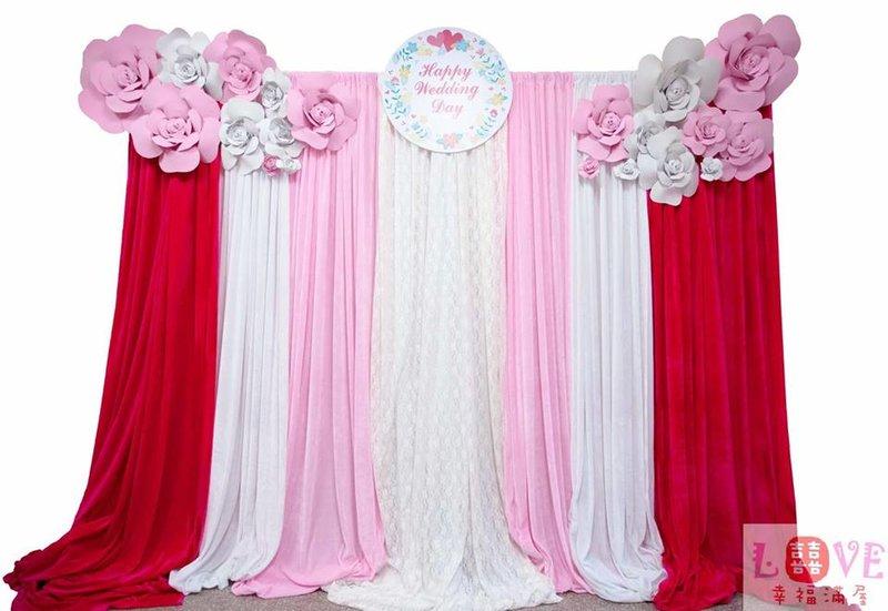 第五號布幔-立體玫瑰粉白款