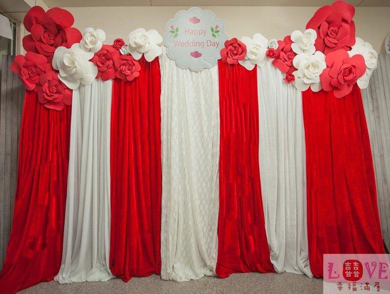 第七號布幔-立體玫瑰紅白款