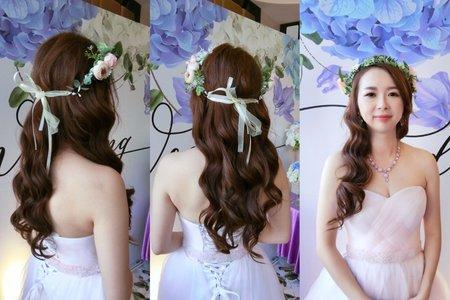 新娘粉色禮服妝髮造型-蘋果公主噴槍彩妝造型學苑
