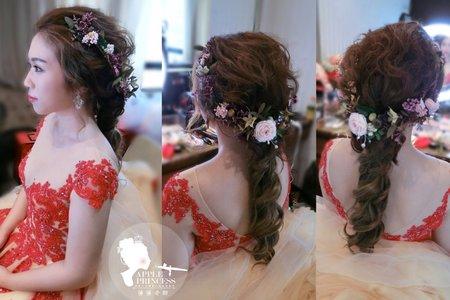 新娘紅色禮服妝髮造型-蘋果公主噴槍彩妝造型學苑