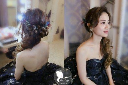 新娘藍色禮服妝髮造型