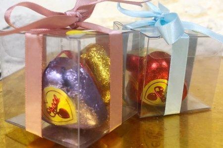 透明盒裝三入愛心巧克力喜糖組