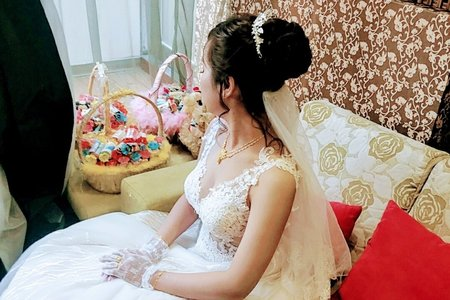 台中新娘秘書小鳳Fong-婷婷花嫁少女長白紗高髮髻婚紗造型