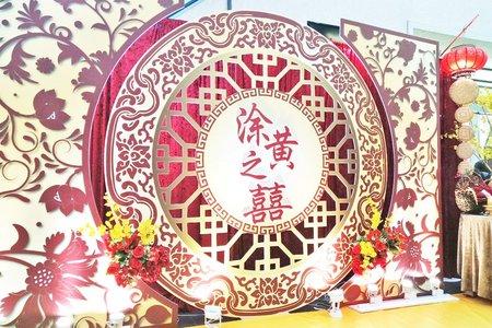 中式婚禮佈置-紅花圓月囍上窗