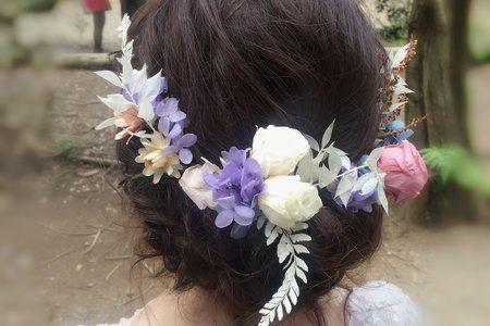 自助婚紗-鬆鬆盤髮不凋花圈