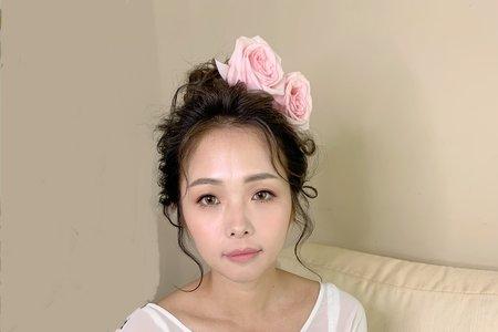 妝髮作品-玫瑰高盤髮