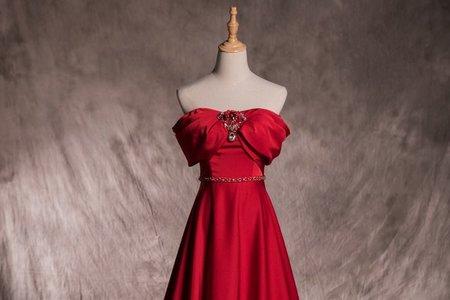 【宴客首推】鑲鑽紅色禮服