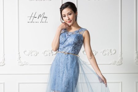 水藍無袖短禮服