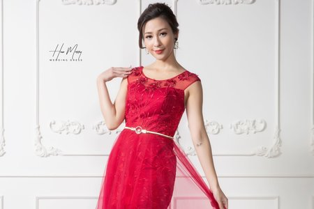 紅色無袖短禮服